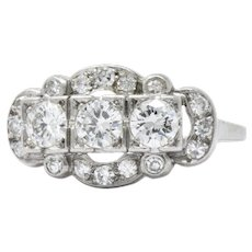 1.22 Carat Art Deco Platinum Transitional & Single Cut Diamond Cocktail Ring