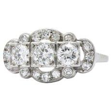 1.22 Carat Art Deco Platinum Transitional & Single Cut Diamond Cocktail Ring