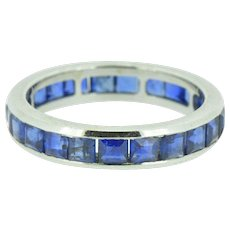 3.60 Carat Art Deco Stackable Sapphire Eternity Band Ring