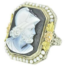 1930's Onyx Seed Pearl & Tri-Colored 14 Karat Gold Cameo Art Deco Ring