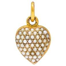 1900 Victorian Natural Freshwater Pearl 18 Karat Gold Heart Locket Charm