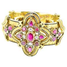 13.62 Carat Large Etruscan Burmese Ruby Rose Cut Diamond 18K Yellow Gold Enamel Victorian Bracelet