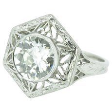 1.19 Carat Old European Diamond Art Deco 1930's Platinum Engagement Ring GIA