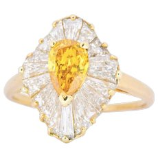 2.74 Carat OSCAR HEYMAN Fancy Vivid Yellow-Orange Diamond Ballerina Alternative Engagement Ring GIA