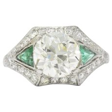 3.61 Carat Old European Diamond Emerald Art Deco Engagement Ring GIA Certified