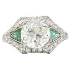 Circa 1930 3.61 CTW Old European Diamond & Emerald Platinum Alternative Ring GIA Certified