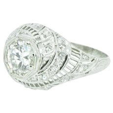1.50 Carat Art Deco Diamond Swirl Platinum Engagement Ring GIA