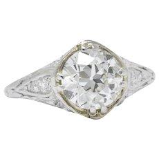 1.76 Carat Old European Diamond Art Deco 1930's Platinum Engagement Ring GIA