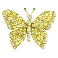 Tiffany & Co. Sapphire Diamond Emerald 18K Yellow Gold Butterfly Pin Brooch