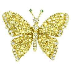 Tiffany & Co. Sapphire Diamond Emerald 18K Yellow Gold Butterfly Pin Brooch
