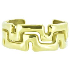 Vintage Tiffany & Co. Gold Cuff Bangle Bracelet Geometric 18K Yellow Gold