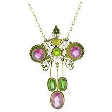 Victorian Suffragette 6.50 Carat Pink & Green Tourmaline 12K Gold Necklace