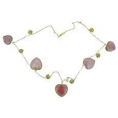 Victorian Watermelon Heart Tourmaline 14K Yellow Gold Necklace