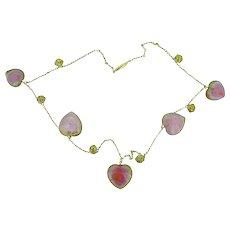Victorian Watermelon Heart Tourmaline 14K Yellow Gold Necklace