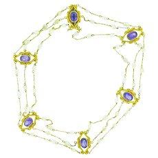 Amethyst & River Pearl Art Nouveau 14K Yellow Gold Chocker Necklace