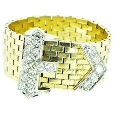 J.E. CALDWELL Art Deco Buckle Ring Platinum 14K Yellow Gold Adjustable