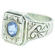 Victorian Men's Natural Cornflower Ceylon Sapphire Silver Motif Ring