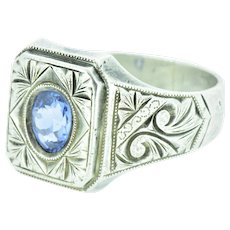Victorian Men's Natural Cornflower Ceylon Sapphire Silver Motif Ring