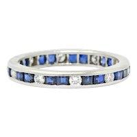 Oscar Heyman Brothers 1.70 CTW Sapphire Diamond Platinum Eternity Band Ring
