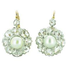 Victorian Rose Cut Diamond & Pearl 18K Rose Gold Platinum Cluster Earrings