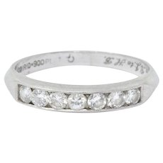 .35 CTW Diamond & Platinum Art Deco Half Wedding Band Ring