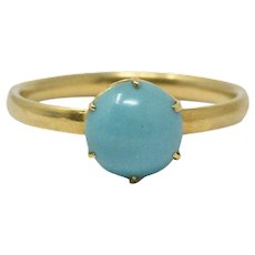 Tiffany & Co. Delicate 18K Gold & Turquoise Ring