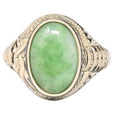 Victorian Jade & 14K Yellow Gold Ring S. Komai