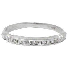 Sweet Art Deco .15 CTW Diamond & Platinum Band Ring