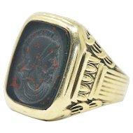 Handsome Men's Art Deco Bloodstone 14 Karat Green Gold Ring