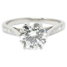 Gorgeous 1.77 Carat Diamond & Platinum Engagement Ring GIA