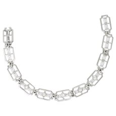 .40 CTW Art Deco 14K White Gold & Diamond Bracelet