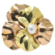 Lovely 14K Two-Tone Gold & Natural Freshwater Pearl Flower Brooch