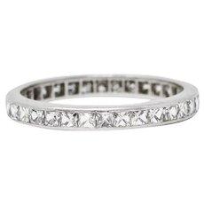 Art Deco 1.20 CTW French Cut Diamond Platinum Eternity Band Ring
