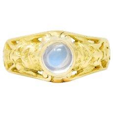 French Art Nouveau Moonstone 18 Karat Green Gold Gargoyle Ring