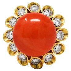 1960's Aletto Bros. Vintage Coral Diamond 18 Karat Gold Cluster Cocktail Ring