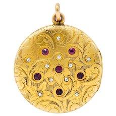 Art Nouveau Ruby Diamond 14 Karat Yellow Gold Floral Locket Pendant