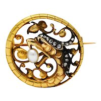 French Art Nouveau Diamond Pearl Silver-Topped 18 Karat Gold Basilisk Dragon Brooch
