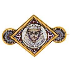 Egyptian Revival Micro Mosaic 18 Karat Gold Pharaoh Brooch