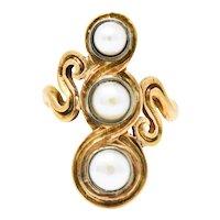 Arts & Crafts Pearl 14 Karat Gold Scrolling Ring