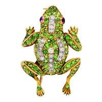 Edwardian 4.35 CTW Demantoid Garnet Diamond Platinum-Topped 18 Karat Gold Frog Brooch