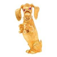 Cartier Ruby 18 Karat Two-Tone Gold Dachshund Hound Dog Brooch