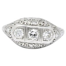 Art Deco .45 CTW Diamond & 19K White Gold Filigree Ring