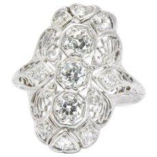 Art Deco 1920's .60 Carat  Diamond & Platinum Dinner Ring
