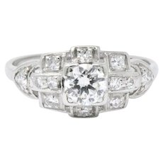 Vintage 1930's .70 CTW Diamond & Platinum Art Deco Engagement Ring