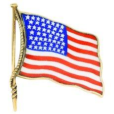 1950's Enamel 14 Karat Gold Unisex American Flag Brooch