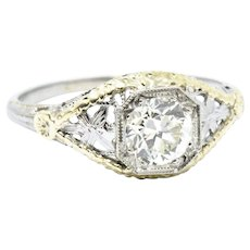 .81 Carat Unique Diamond Art Deco 18 Karat Two Tone Gold Engagement Ring GIA