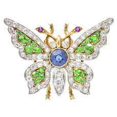 Breathtaking Belle Epoque Sapphire, Demantoid, Ruby, Diamond & Platinum-Topped 18K Gold Butterfly Brooch