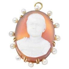 Unique Hardstone Natural Pearl & 14K Gold Victorian Cameo Pendant/Brooch