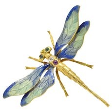 Art Nouveau Charming 14K Gold Gemstone Diamond & Enamel Dragonfly Brooch
