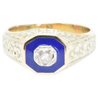 .25CTS Diamond, 14K Yellow Gold & Enamel Men's Victorian Ring